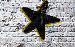 Картинка wall, white, Star, black, yellow, pattern, spray paint