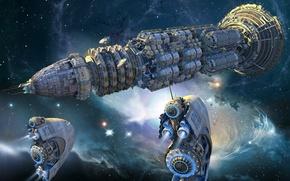 Картинка космос, звезды, встреча, космический корабль