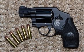 Картинка фон, патроны, револьвер, Smith & Wesson, Смит-Вессона