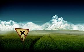 Обои поле, крест, Знак
