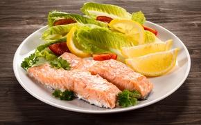 Обои листья, лимон, рыба, lemon, помидоры, салат, fish, сервировка, tomato