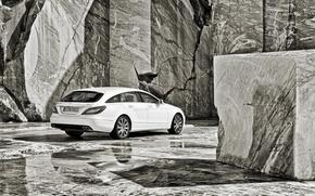 Картинка белый, фон, Mercedes-Benz, CLS, Мерседес, вид сзади, гранит, ч\б, чёрнобелое, универсал, 250, Shooting Brake, ЦЛС, ...