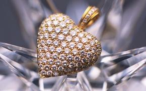 Картинка золото, бриллианты, кулон, украшение, сердечко, камушки