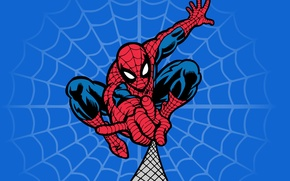 Картинка сеть, Spider-man, Marvel Comics, костюм, паутина