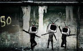 Картинка стена, граффити, телевизор