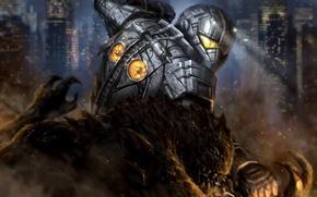 Картинка город, робот, монстр, гигант, Pacific Rim, Kaiju, Gipsy Danger, jaeger