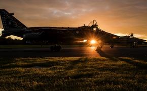 Картинка закат, оружие, самолёт