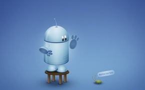 Обои андройд, баг, синий, робот, Android