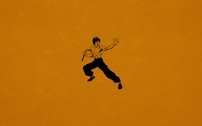 Обои минимализм, Bruce Lee, кунг-фу, темно оранжевый, Нунчаки, Брюс Ли