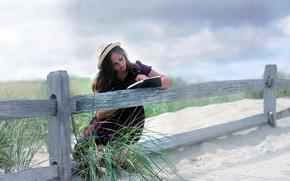 Картинка девушка, настроение, забор, книга