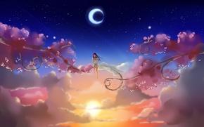 Картинка девушка, солнце, облака, ночь, ветки, звёзды, месяц