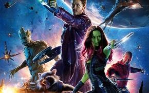 Обои Star-Lord, Guardians of the Galaxy, Chris Pratt, Gamora, Boys, Vin Diesel, Groot, Green, Peter, Dave ...