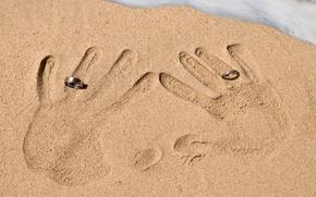 Обои отпечатки, кольца, песок