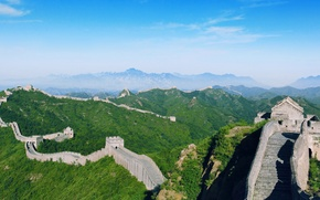 Обои Китай, Великая Китайская стена, горы, деревья