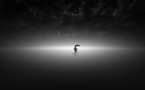 Картинка минимализм, человек, дождь