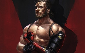 Картинка рука, борода, Snake, art, протез, Metal Gear Solid, Jack, Konami, Kojima Productions, Naked Snake, big …