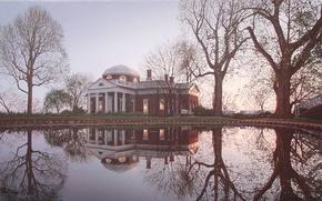 Картинка дом, пруд, отражение, весна, USA, США, живопись, особняк, усадьба, painting, Rod Chase, Virginia, Виргиния, Монтичелло, …