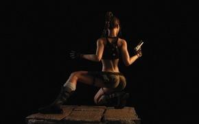 Картинка попа, девушка, рендеринг, пистолет, темно, lara croft, tomb raider