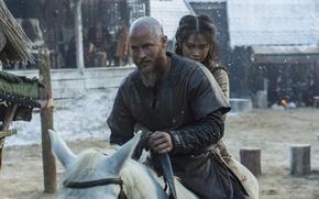 Обои снег, конь, Vikings, Викинги, Travis Fimmel, Ragnar Lothbrok