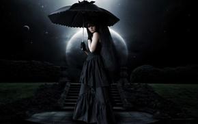 Картинка ночь, зонт, ведьма, полнолуние, Cosplay, траур, черная магия