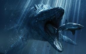 Обои акула, зубы, пасть, под водой, лучи света, рептилия, Мир Юрского периода, Jurassic World