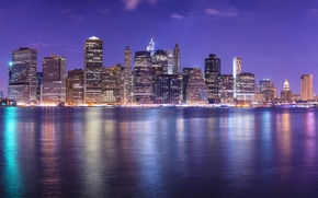 Обои skyscrapers, cityscape, небоскрёбы, город, lights, огни, reflection, ночь, panorama, night