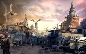 Картинка собаки, люди, москва, арт, кремль, руины, постройки, постапокалиптика, лачуги