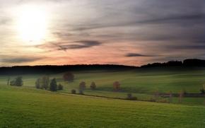 Картинка небо, облака, холмы, Поле