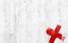 Картинка белый, красный, полотно, крест, минимализм, текстура
