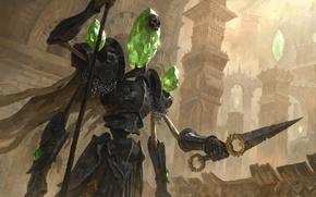 Картинка кристалл, череп, воин, magic, golem, guardian