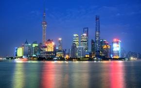 Картинка ночь, огни, отражение, зеркало, Китай, Шанхай, Oriental Pearl Tower, Shanghai Tower, Shanghai World Financial Center, ...