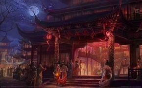 Картинка ночь, огни, люди, девушки, луна, пагода, полнолуние, game wallpapers, Swordsman