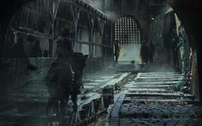 Картинка свет, оружие, люди, улица, лошадь, меч, решетка, арт, фонари, всадник, ливень