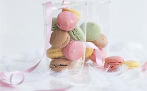 Картинка коробка, еда, печенье, лента, сладкое, macaron
