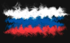Картинка абстракция, дым, флаг, Россия, триколор, Russia