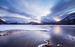 Обои cloud, sunset, snow, vermilion, mountain, lake, ice