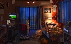 Обои компьютер, кот, ночь, огни, девушки, комната, футбол, вещи, мяч, часы, бутылка, лампа, кровать, дома, телевизор, ...