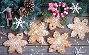 Картинка зима, снежинки, ветки, игрушки, еда, ель, печенье, ёлка, Christmas, шишки, десерт, выпечка, праздники, сладкое, New …
