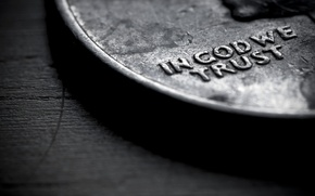 Картинка макро, слова, in god we trust, монета