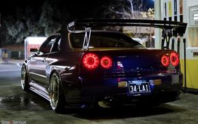Обои Nissan Skyline, скайлайн, ночь, R34, тюнинг, GT-R, ниссан