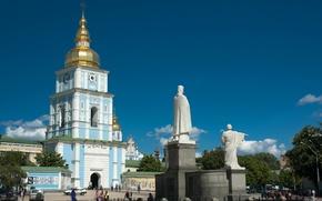 Картинка лето, небо, люди, площадь, памятник, собор, украина, киев, михайловский