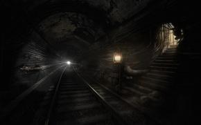 Картинка темнота, метро, монстры, Metro Last Light