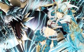 Обои арт, poaro, monster hunter, zinogre, девушка, дракон