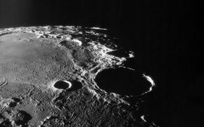 Обои Луна, тень, кратер