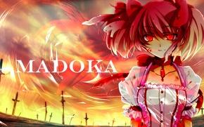 Картинка грусть, небо, девушка, магия, кровь, аниме, арт, бантики, мечи, красные глаза, anime, art, mahou shoujo …