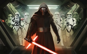 Обои Action, Sci-Fi, The, Dark, Kylo Ren, Force, Sword, StarWars, Wallpaper, Fantasy, Laser, Walt Disney Pictures, ...