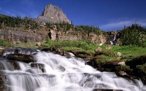 Обои водопад, деревья, горы