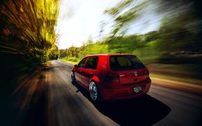 Картинка Volkswagen, Red, Golf, GTI, Stance, MK4