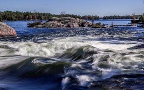 Картинка деревья, река, камни, скалы, остров, поток