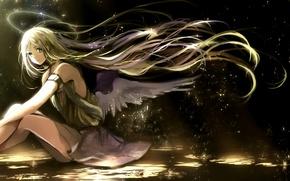 Обои арт, canarinu kmes, девушка, крылья, ангел